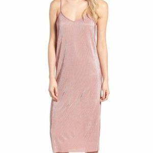 NWT Trouve Midi Slip Dress Shimmer Textured Pleat